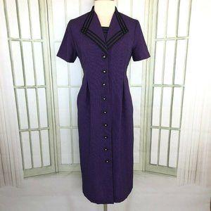 Miss Dorby Sheath Shift Midi Dress Purple 6P
